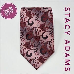 Stacy Adams Floral Paisley Red Maroon Silk Tie EUC